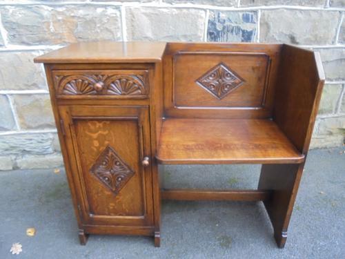 Antique Carved Oak Hall Seat (1 of 1)