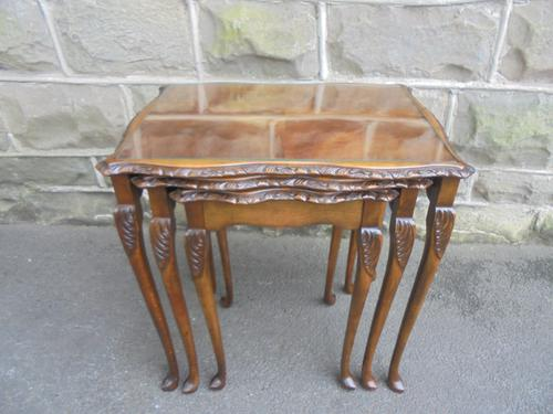 Mahogany Nest 3 Glass Top Coffee Tables c.1920 (1 of 1)