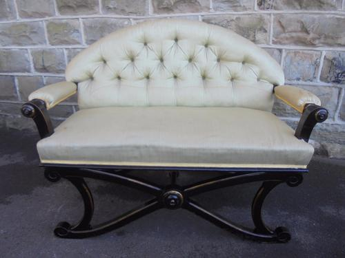 Unusual Shaped Antique Ebonised Window Seat Sofa (1 of 1)