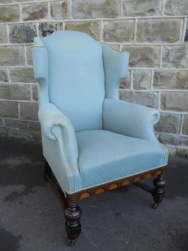 Good Shaped Antique English Upholstered Wing Armchair (1 of 1)