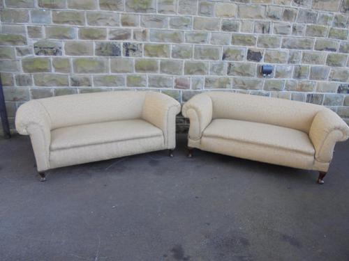 Pair of English Upholstered Country House Chesterfield Sofas c.1900 (1 of 1)