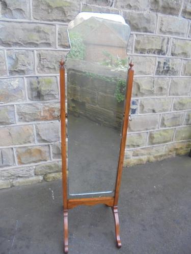 Antique Walnut Framed Cheval Dressing Mirror (1 of 1)