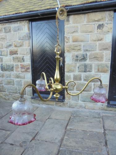 Antique English Brass & Cranberry Glass 3 Branch Light Fitting (1 of 1)