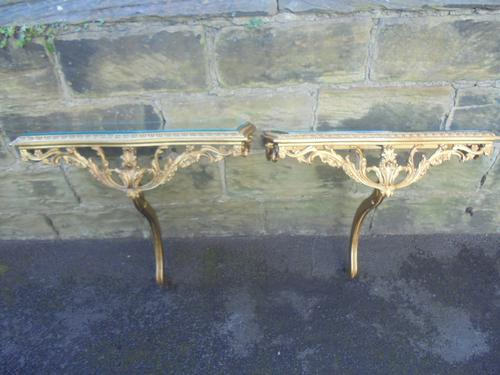 Decorative Pair of Giltwood Glass Topped Console Tables (1 of 1)