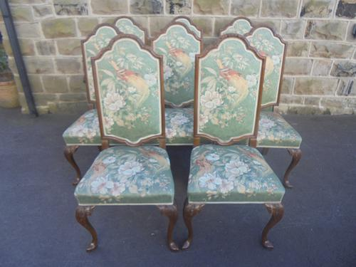 Quality Set of 8 Walnut Queen Anne Style Dining Chairs c.1920 (1 of 1)