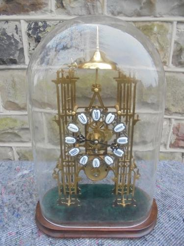 Antique Cathedral Skeleton Clock Under Glass Dome c.1900 (1 of 1)