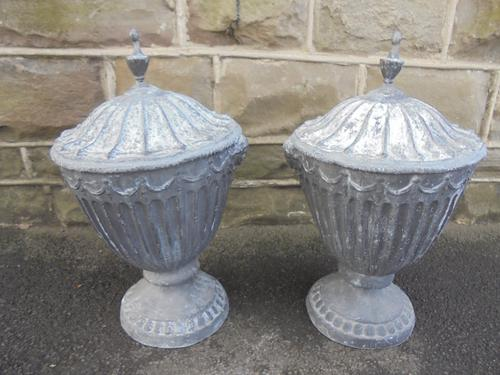 Good Pair of Neo Classical Lead Urns (1 of 1)