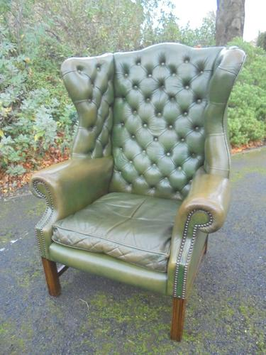 Antique Leather Wing Armchair (1 of 1)