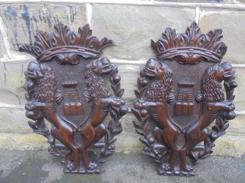 Decorative Pair of Antique Wood Carvings (1 of 1)