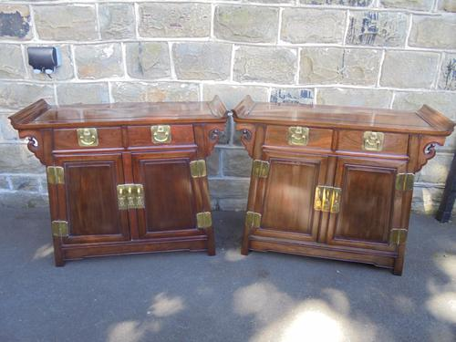Pair of Chinese Hardwood Side Cabinets c.1920 (1 of 1)