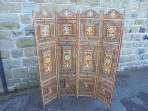 Antique Anglo Indian Inlaid Folding Screen c.1900 (1 of 1)