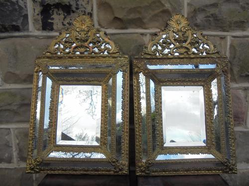 Pair of Decorative Antique Brass Framed Mirrors (1 of 1)