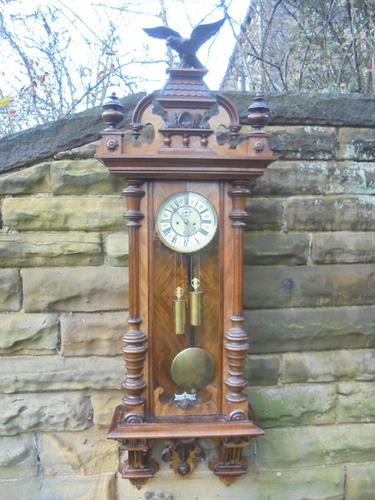 Antique Walnut Cased Double Weight Vienna Wall Clock (1 of 1)