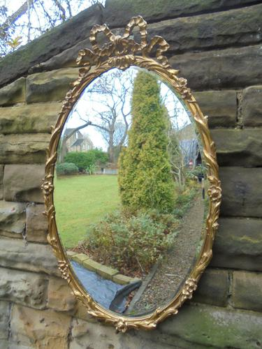 Antique Ornate Gilt Framed Oval Wall Mirror (1 of 1)