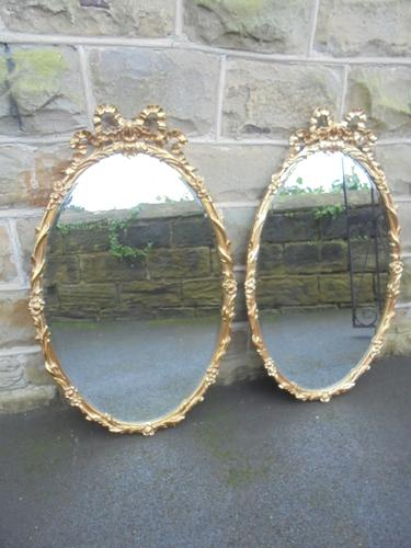 Pair of Antique Large Oval Gilt Framed Wall Mirrors (1 of 1)