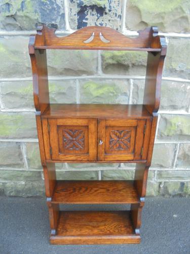 Antique Golden Oak Open Bookcase c.1910 (1 of 1)