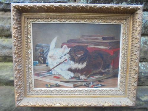 Mischievous Kittens Playing Oil on Canvas (1 of 12)