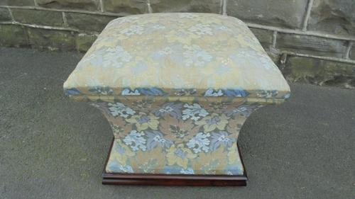 Antique Rosewood & Upholstered Box Stool Ottoman (1 of 7)