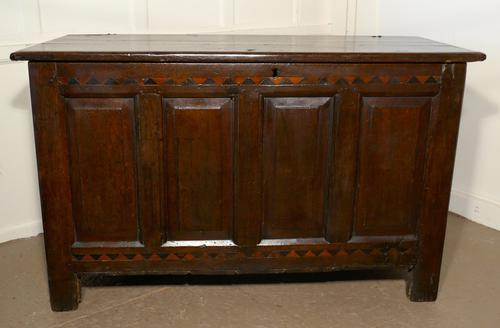 Large 17th Century Inlaid Panelled Oak Coffer (1 of 7)