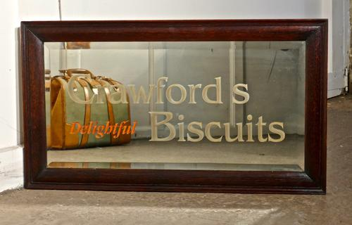 'Crawford's Delightful Biscuits' Baker / Cafe Advertising Mirror (1 of 5)