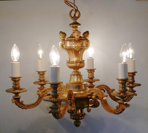 French Gilded Brass 6 Branch Rococo Chandelier (1 of 10)