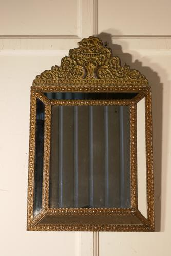 Large Napoleon III French Brass Cushion Mirror (1 of 6)