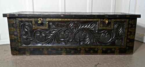 Large North African Carved & Brass Decorated Coffer (1 of 15)