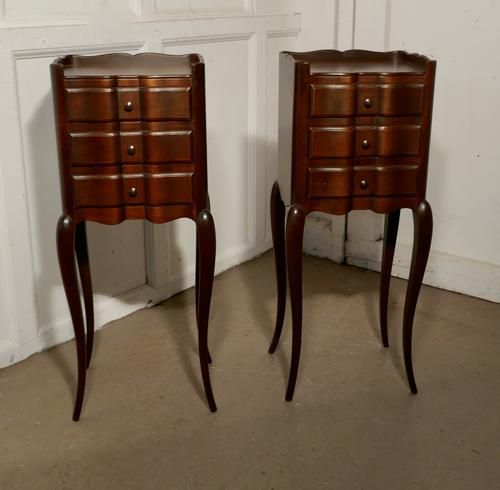 Pair of French Dark Walnut Bedside Cabinets with Drawers (1 of 5)