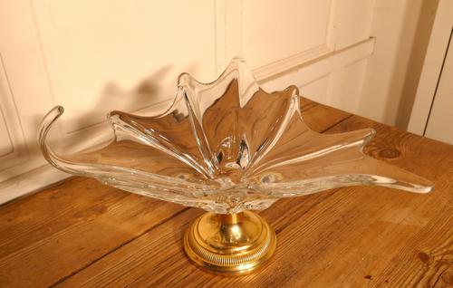 Large French Art Glass & Brass Tazza Dish (1 of 6)
