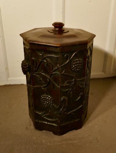 Arts & Crafts Carved Oak Lined Coal or Log Bucket (1 of 8)