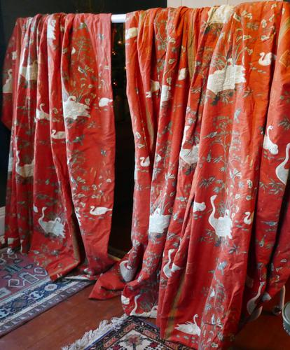 """A Very Large Pair of Lined Greeff Vintage Curtains """"Aviary From the Emperors"""" Fabric (1 of 9)"""
