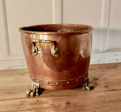 19th Century Copper Log Bin Cauldron (1 of 7)