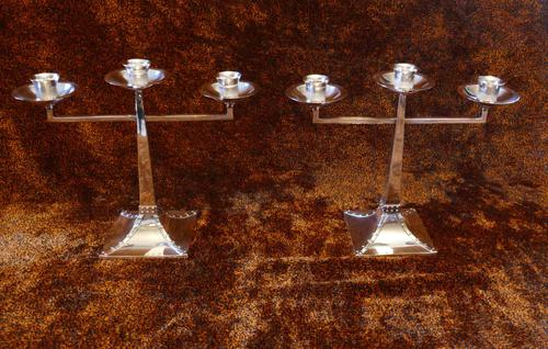 James Dixon & Sons Three-Branch Silver Plated Candelabra (1 of 10)