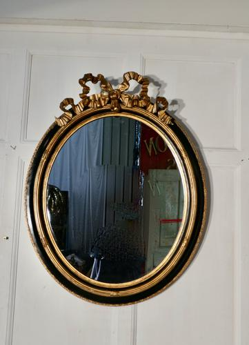 Large French Ebonised & Gilt Oval Wall Mirror (1 of 7)