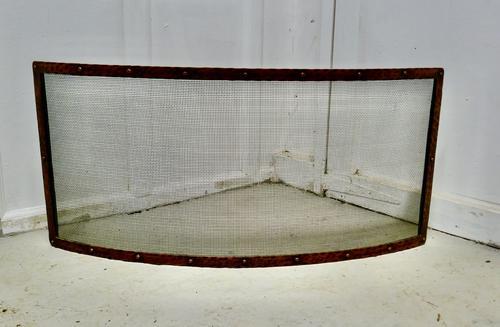Victorian Arts & Crafts Beaten Copper Curved Fire Guard, Spark Screen (1 of 4)