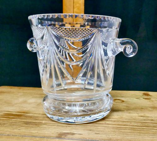 French Art Deco Hand Blown Cut Crystal Champaign Ice Bucket, Wine Cooler (1 of 5)