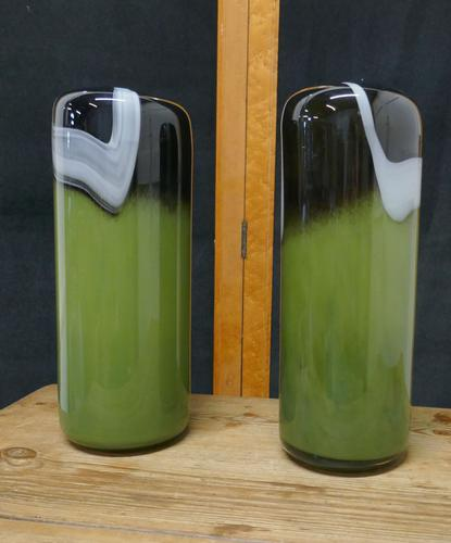Pair of  Tall Mid Century Glass Art Glass Vases (1 of 6)
