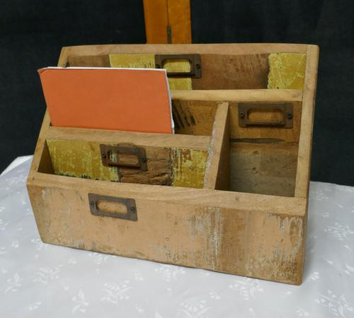 Distressed Industrial Look Desk Top Stationary Box Letter Rack (1 of 8)