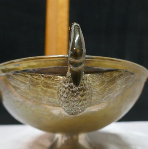 Indian Beaten Brass Oval Dish with Swan Handles (1 of 7)
