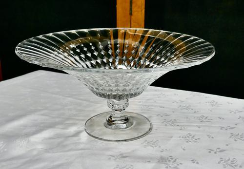 Large French Tazza Diamond Patterned Crystal Pedestal Fruit Dish (1 of 8)