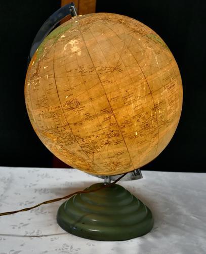 "French Art Deco 10"" World Globe Light (1 of 5)"