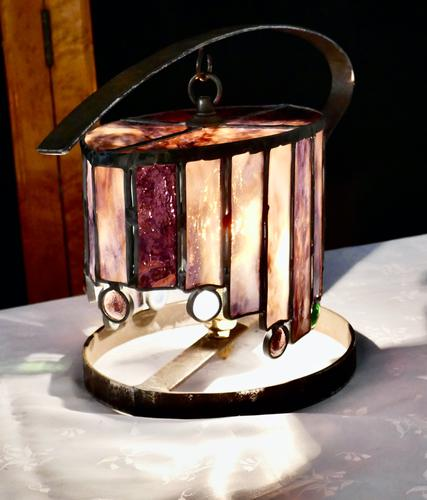 French Arts & Crafts Amethyst Leaded Glass Table Lamp (1 of 9)