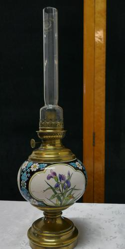 French Napoleon III Ceramic Oil Lamp Decorated with Birds & Flowers (1 of 5)