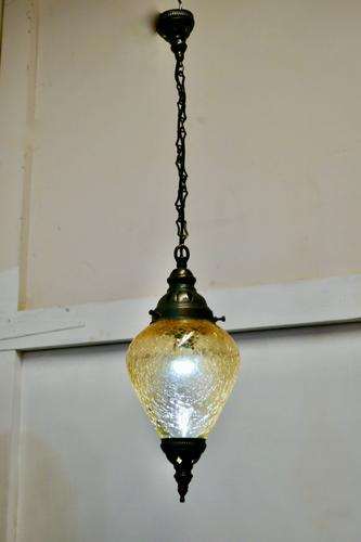 French Art Deco Crackle Glass Hanging Pendant Light (1 of 5)