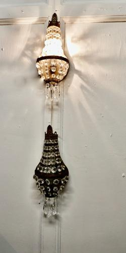 Pair of French Brass & Crystal Chandelier Wall Lamps (1 of 5)