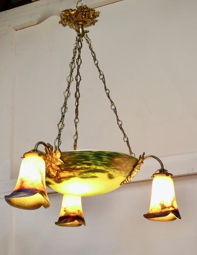 Superb Art Deco Painted Glass 3 Branch Centre Light (1 of 11)