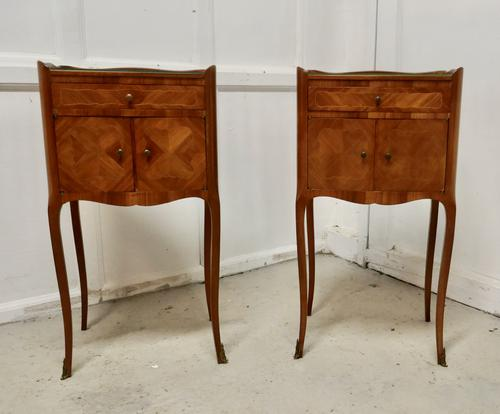 Pair of French Satin Walnut Bedside Cabinets (1 of 6)