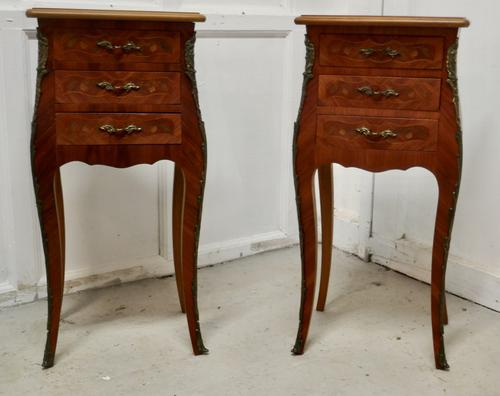 Pair of Inlaid French Marquetry Bombe Shaped Bedside Cupboards (1 of 5)