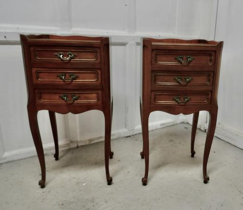 Pair of French. 3 Drawer Cherrywood Bedside Cabinets (1 of 4)