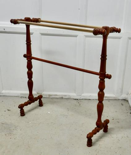 French Oak and Brass Towel Rail (1 of 7)
